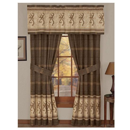Browning Buckmark Rod Pocket Lined Curtains W/Tiebacks