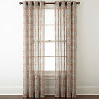 Deals on JCPenney Home Batiste Paisley GrommetTop Sheer Curtain Panel