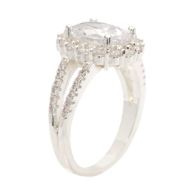 Sparkle Allure Sparkle Allure Womens Clear Pure Silver Over Brass Cocktail Ring