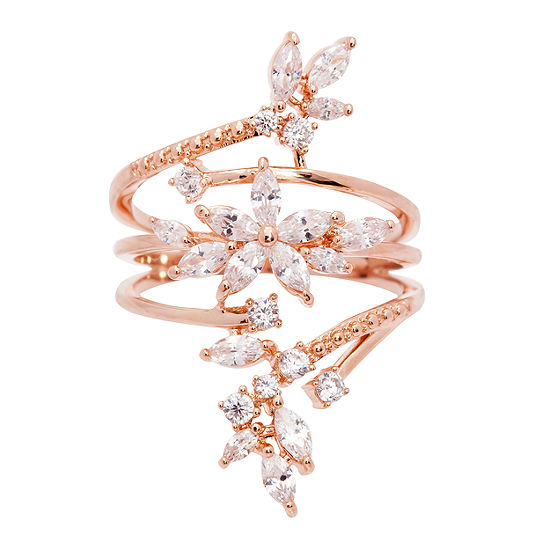 Sparkle Allure Womens Clear 14k Rose Gold Over Brass Cocktail Ring
