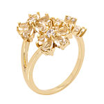 Sparkle Allure Womens Clear 14K Gold Over Brass Cocktail Ring