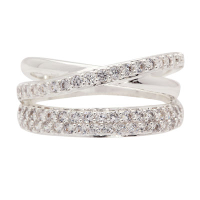 Sparkle Allure Womens 3.5mm Clear Pure Silver Over Brass Band