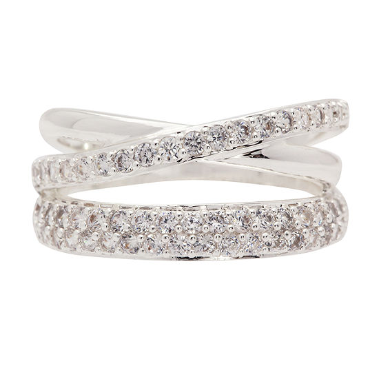Sparkle Allure Womens 35mm Clear Pure Silver Over Brass Band