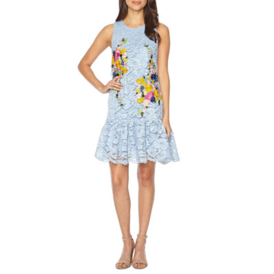 Nicole By Nicole Miller Sleeveless Embroidered Lace Floral Shift Dress
