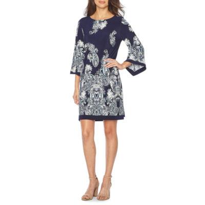 Studio 1 3/4 Sleeve Paisley Puff Print Shift Dress