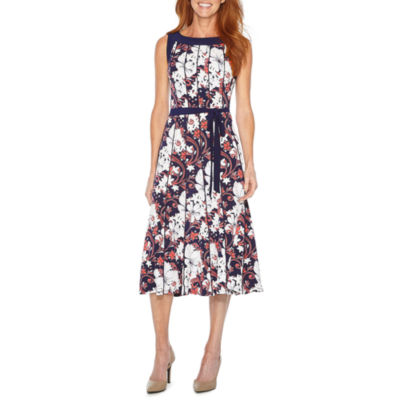 Perceptions Sleeveless Puff Print Floral Fit & Flare Dress
