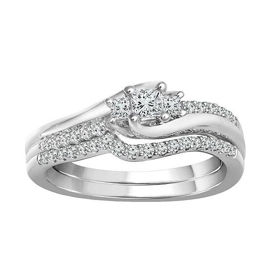 Womens 3/8 CT. T.W. Genuine White Diamond 10K Gold Bridal Set