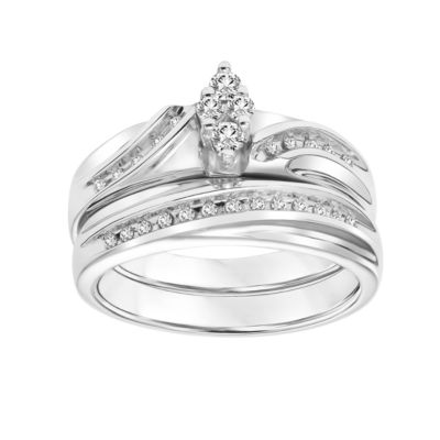 Womens 1/4 CT. T.W. Round White Diamond Sterling Silver Bridal Set