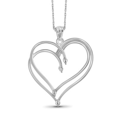 Womens Diamond Accent Genuine White Diamond Sterling Silver Heart Pendant Necklace