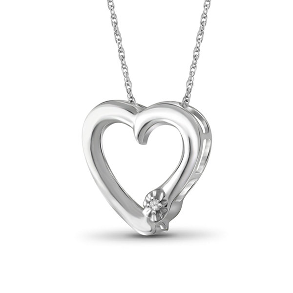 Womens Diamond Accent White Diamond Sterling Silver Pendant Necklace