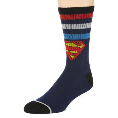 Novelty Socks 1 Pair Superman Crew Socks-Mens