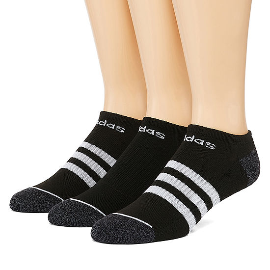 adidas Core 3 Stripe Ext Size 3 Pair No Show Socks-Mens