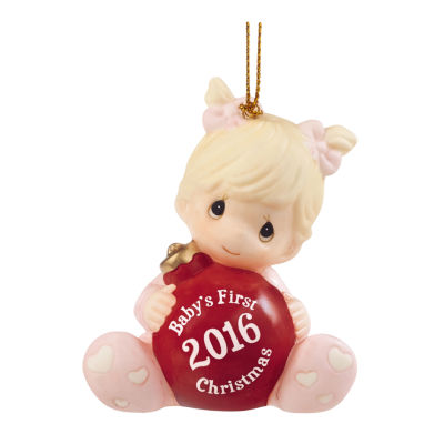 """Precious Moments  """"Baby's First Christmas 2016Baby Girl  Bisque Porcelain Ornament  #161005"""