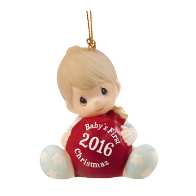 """Precious Moments  """"Baby's First Christmas 2016Baby Boy  Bisque Porcelain Ornament  #161006"""