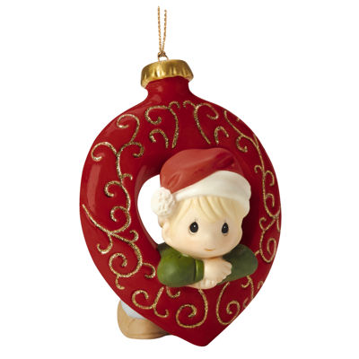 "Precious Moments  ""You Fill My Heart""  Boy  Bisque Porcelain Ornament  #161029"