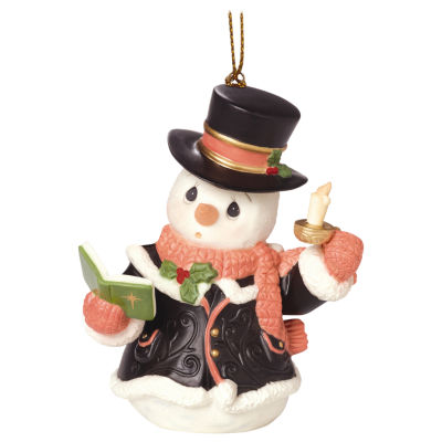 "Precious Moments  ""O Come  All Ye Faithful""  7th in Annual Snowman Series  Porcelain Ornament  #161033"