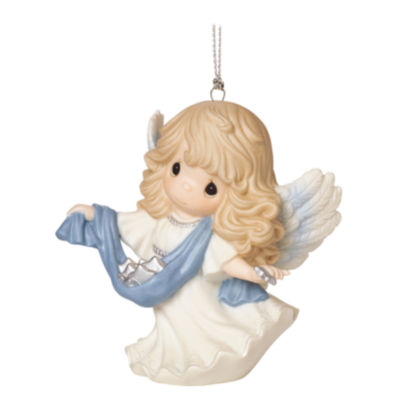 """Precious Moments  """"Guide Us To Thy Perfect Light""""  6th in Annual Angel Series  Porcelain Ornament  #161035"""