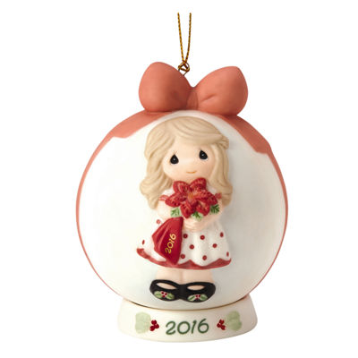 "Precious Moments  ""Wishing You A Beautiful Christmas""  Dated 2016  Bisque Porcelain Ball Ornament  #161003"