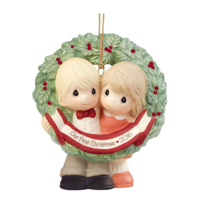 "Precious Moments  ""Our First Christmas Together2016""  Bisque Porcelain Ornament  #161004"