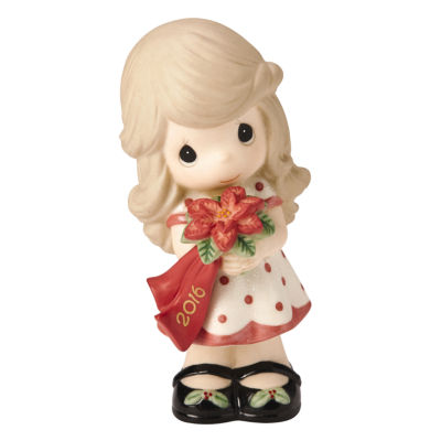 """Precious Moments  """"Wishing You A Beautiful Christmas""""  Dated 2016  Bisque Porcelain Figurine  #161001"""