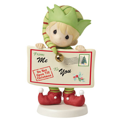 "Precious Moments  ""Joy  Peace And Christmas Cheer In Here""  1st in Annual Elf Series  Bisque Porcelain Figurine  #161036"