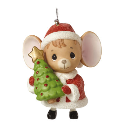 "Precious Moments  ""The Holidays Are Mice With You""  Mouse with Tree  Porcelain Bell Ornament  #161046"
