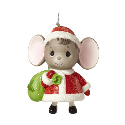 "Precious Moments  ""The Holidays Are Mice With You""  Mouse with Gift Bag  Porcelain Bell Ornament#161048"