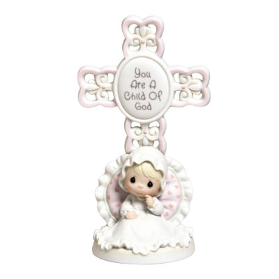 """Precious Moments  """"You Are A Child Of God""""  Bisque Porcelain Cross  Girl  #4004681"""