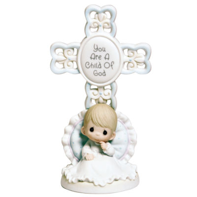 "Precious Moments  ""You Are A Child Of God""  Bisque Porcelain Cross  Boy  #4004680"
