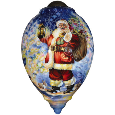 "Ne'Qwa Art  ""Woodland Santa""  Artist Dona Gelsinger  Princess-Shaped Glass Ornament  #7000558"