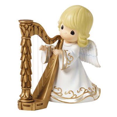 "Precious Moments  ""Angel Playing Harp""  MusicBox  Resin Figurine  #161108"