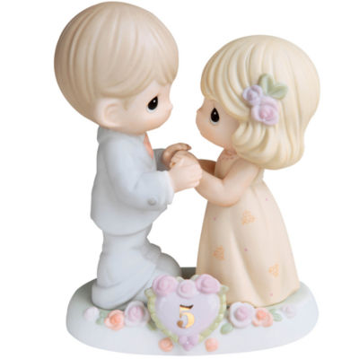 """Precious Moments  """"I Fall In Love With You MoreEach Day - 5th Anniversary""""  Bisque Porcelain Figurine  #730006"""