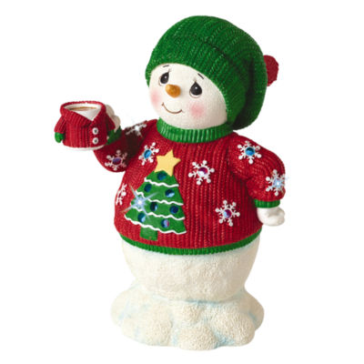 Precious Moments  LED Musical Snowman In Ugly Sweater  Plays Jingle Bells  Resin Figurine  #161110