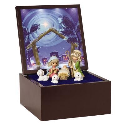 "Precious Moments  ""Heirloom Nativity Set DeluxeMusic Box""  LED Stars  Plays Silent Night  #161106"