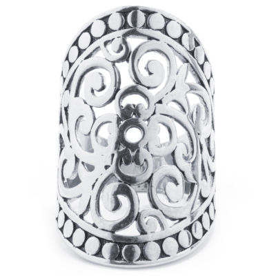 Sparkle Allure Sparkle Allure Womens Pure Silver Over Brass Oblong Cocktail Ring