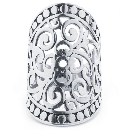 Crystal Sophistication Womens Pure Silver Over Brass Oblong Cocktail Ring