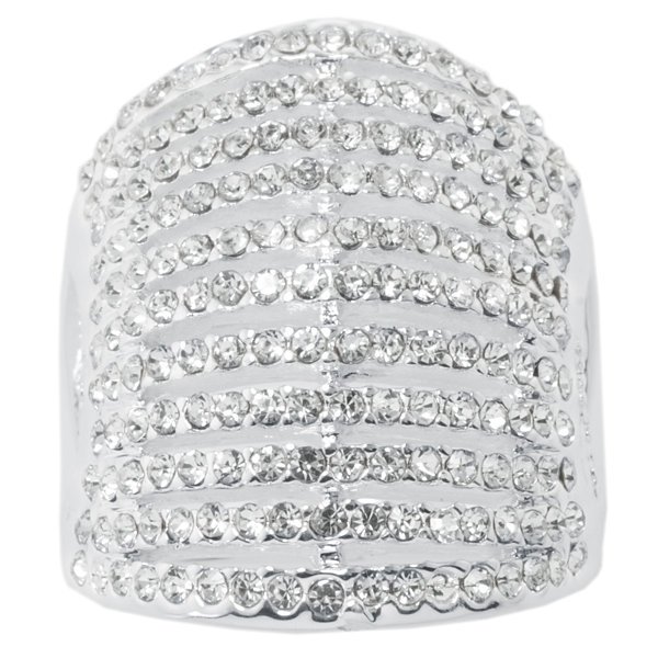 Sparkle Allure Sparkle Allure Womens Synthetic Clear Silver Over Brass Cocktail Ring