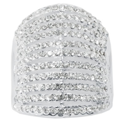 Sparkle Allure Sparkle Allure Womens Pure Silver Over Brass Dome Cocktail Ring