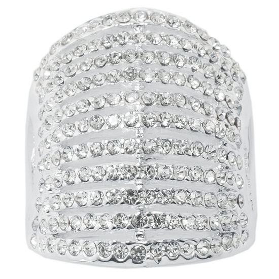 Sparkle Allure Womens Pure Silver Over Brass Dome Cocktail Ring