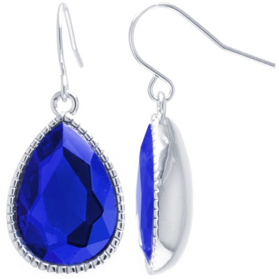 Sparkle Allure Sparkle Allure Blue Pure Silver Over Brass Pear Drop Earrings