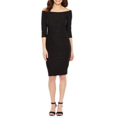 Premier Amour 3/4 Sleeve Jacquard Bodycon Dress