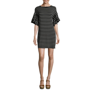 Heart N Soul Short Sleeve Stripe Shift Dress-Juniors