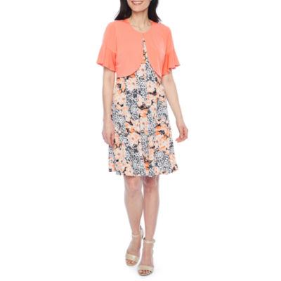 Perceptions Sleeveless Jacket Dress-Petites