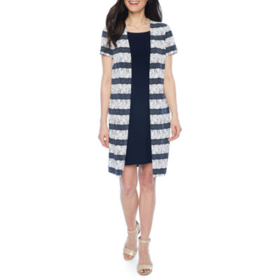 Perceptions Short Sleeve Jacket Dress-Petite