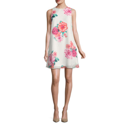 Jessica Howard Sleeveless Floral A-Line Dress-Petite