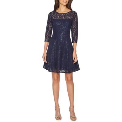 S. L. Fashions Elbow Sleeve Lace Fit & Flare Dress