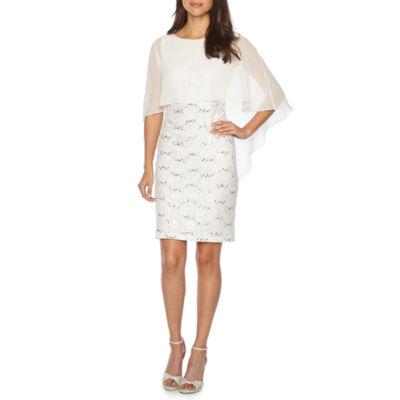 Scarlett Sleeveless Cape Sequin Lace Sheath Dress