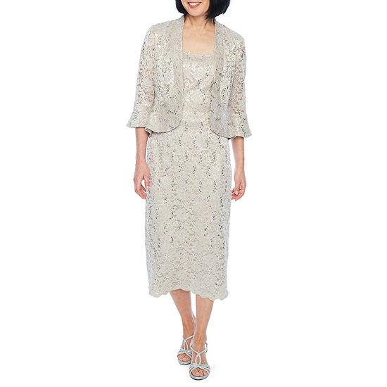 R & M Richards 3/4 Sleeve Embellished Midi Jacket Dress