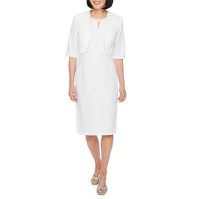Maya Brooke 3/4 Sleeve Embellished Sheath Dress