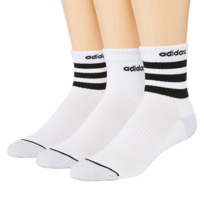 adidas Core 3 Stripe 3 Pair Quarter Socks-Mens
